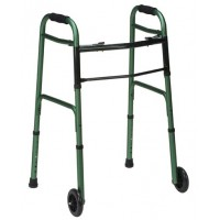 DMI® Two-Button Release Folding Walker w/ Wheels